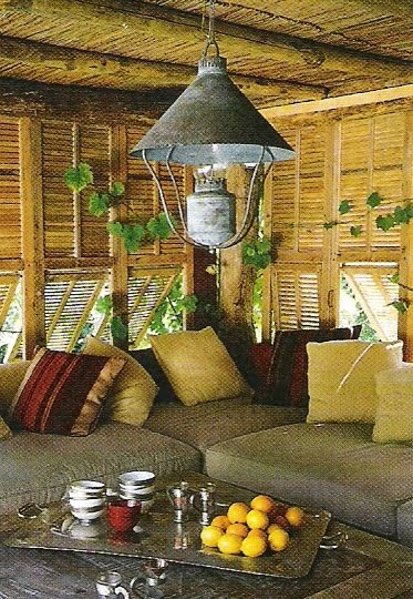 Cote Sud, Avril-Mai 2005,  outdoor spaces sofa, lantern as seen on linenlavenderlife com