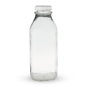 glass milk bottle with lid as seen on linenlavenderlife com