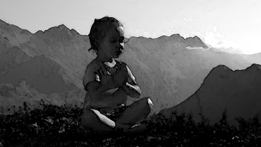 "child meditating on mountain top - from ""The Path"" by L for linenlavenderlife com"