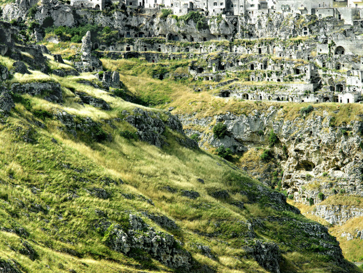 The Sassi, Matera, Italy.  Ancient cave dwellings dating from the Paleolithic era. -  A Unesco World Heritage Site.